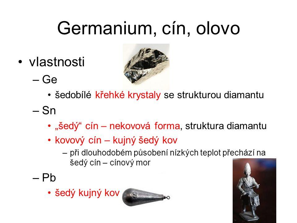Germanium, cín, olovo vlastnosti Ge Sn Pb