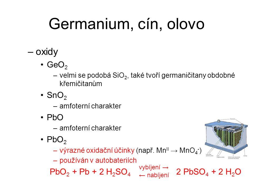 Germanium, cín, olovo oxidy GeO2 SnO2 PbO PbO2