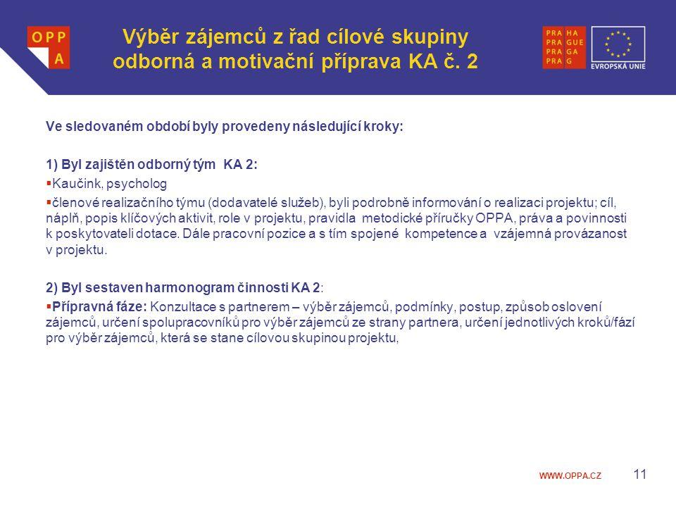 Výběr zájemců z řad cílové skupiny odborná a motivační příprava KA č. 2
