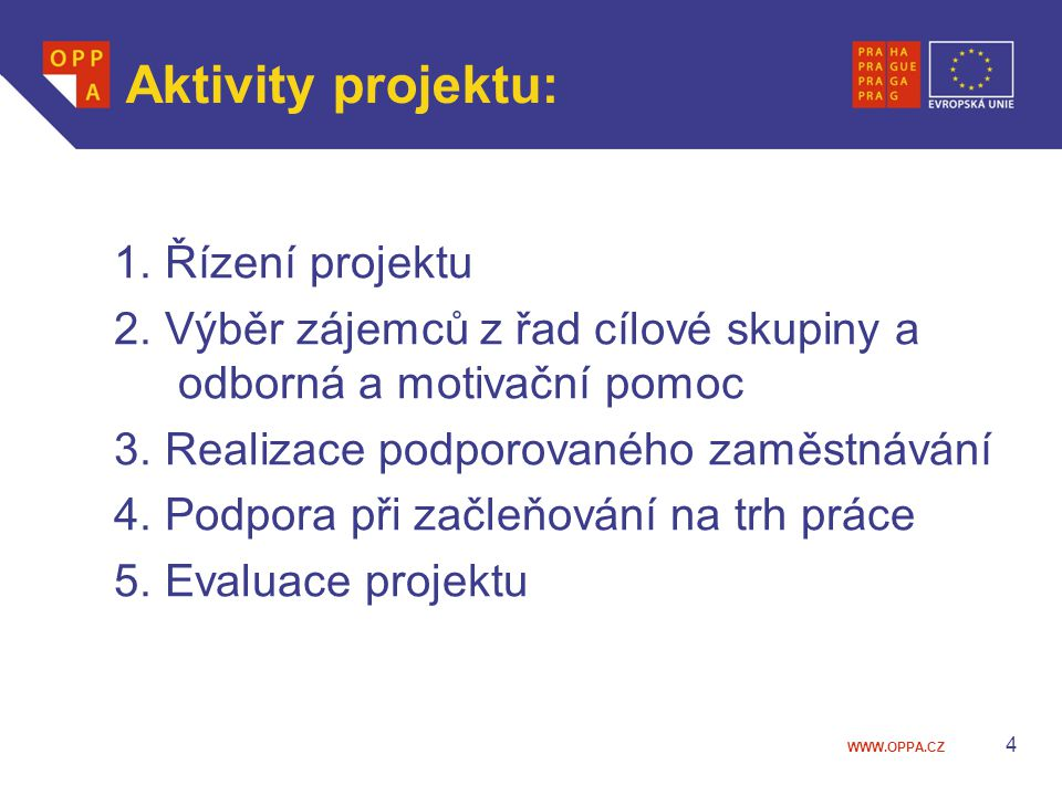 Aktivity projektu: 1. Řízení projektu
