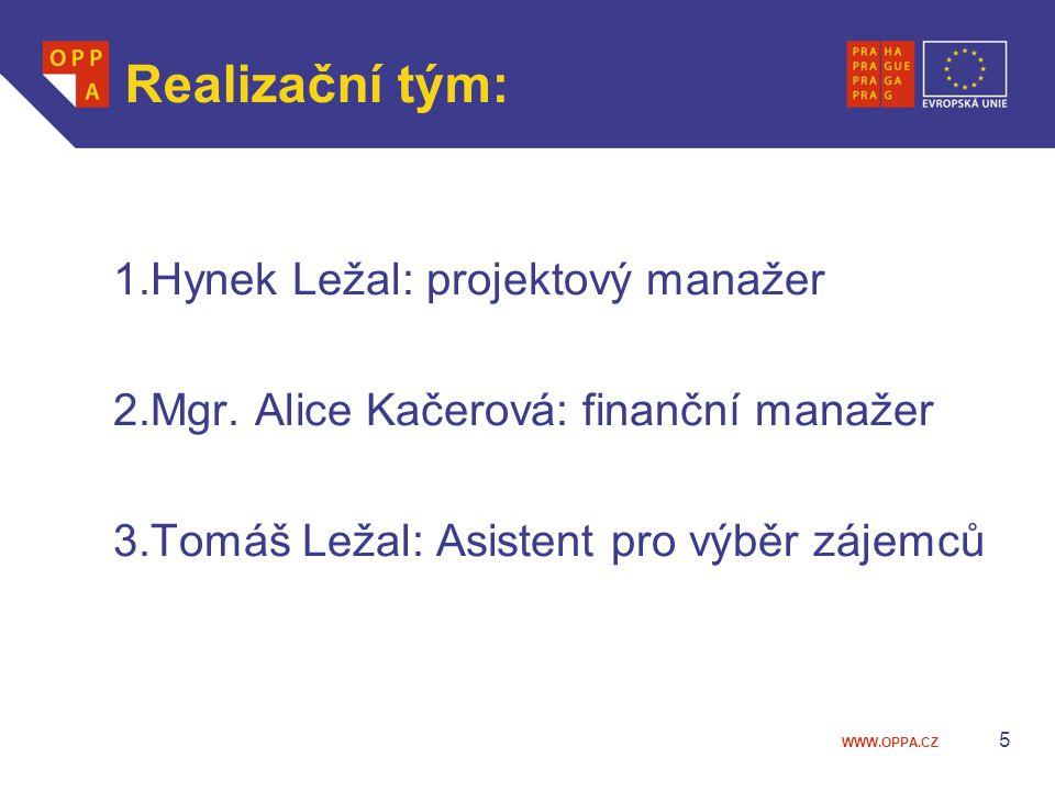 Realizační tým: 1.Hynek Ležal: projektový manažer