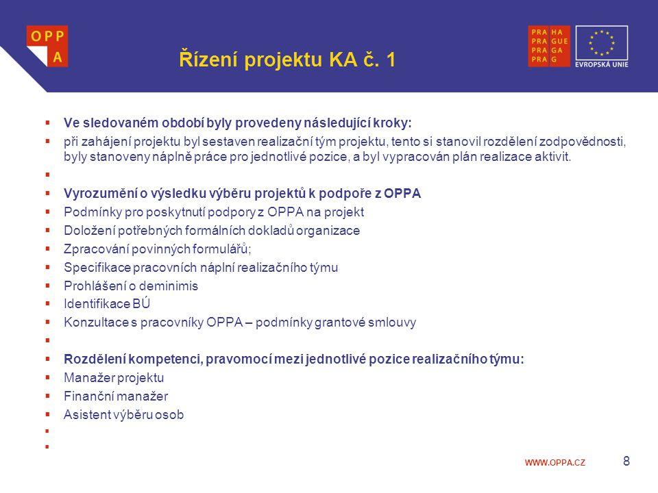 Řízení projektu KA č. 1 Ve sledovaném období byly provedeny následující kroky: