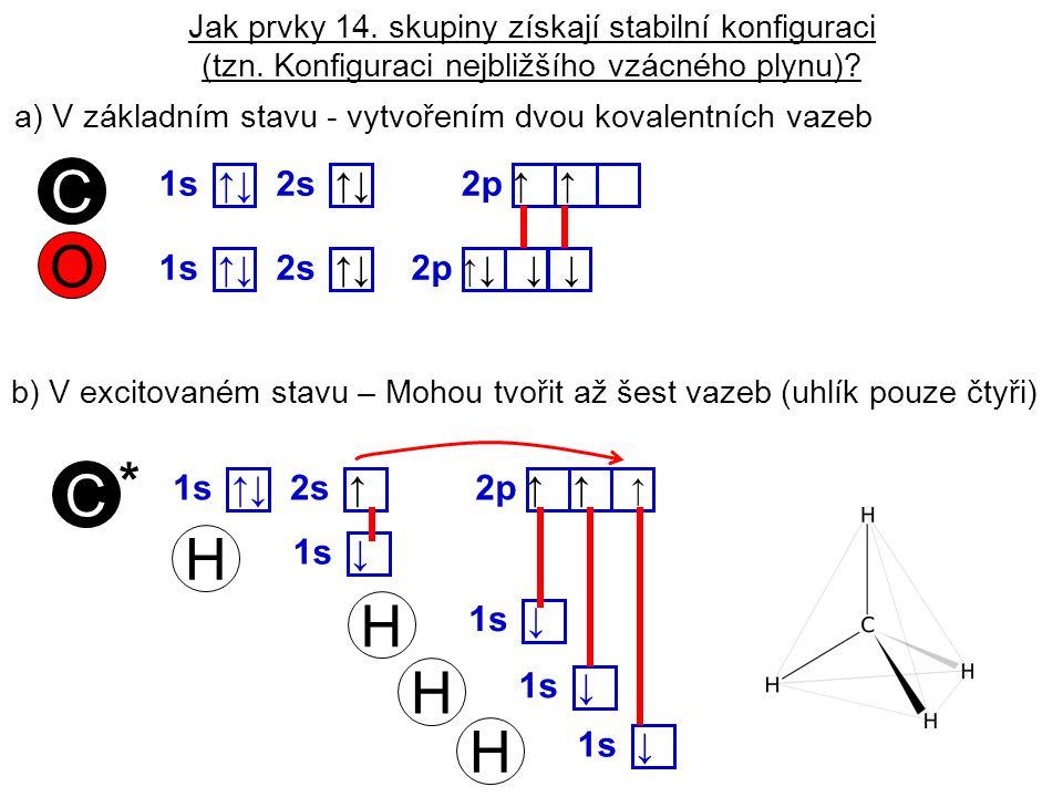 C O C H H H H * 1s ↑↓ 2s ↑↓ 2p ↑ ↑ 1s ↑↓ 2s ↑↓ 2p ↑↓ ↓ ↓ 1s ↑↓ 2s ↑