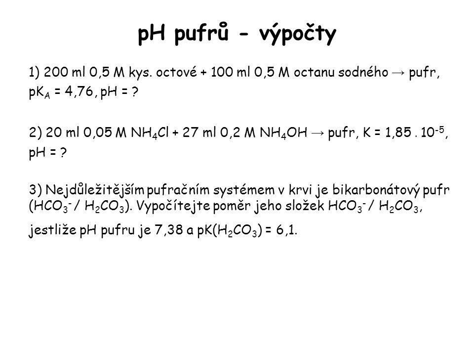 pH pufrů - výpočty 1) 200 ml 0,5 M kys. octové + 100 ml 0,5 M octanu sodného → pufr, pKA = 4,76, pH =
