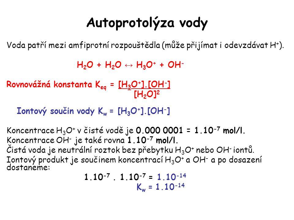 Autoprotolýza vody Voda patří mezi amfiprotní rozpouštědla (může přijímat i odevzdávat H+). H2O + H2O ↔ H3O+ + OH-