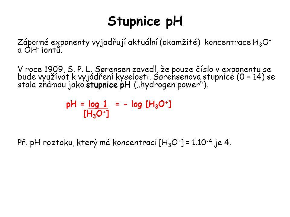 Stupnice pH Záporné exponenty vyjadřují aktuální (okamžité) koncentrace H3O+ a OH- iontů.