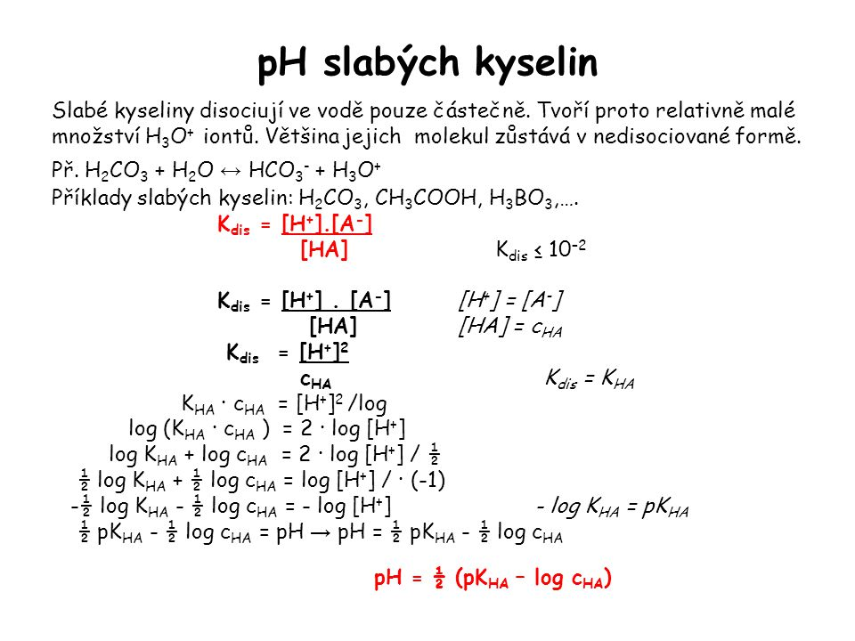 pH slabých kyselin