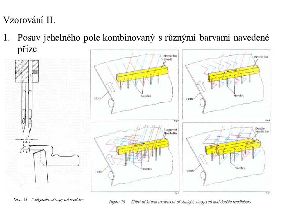 Vzorování II. Posuv jehelného pole kombinovaný s různými barvami navedené příze