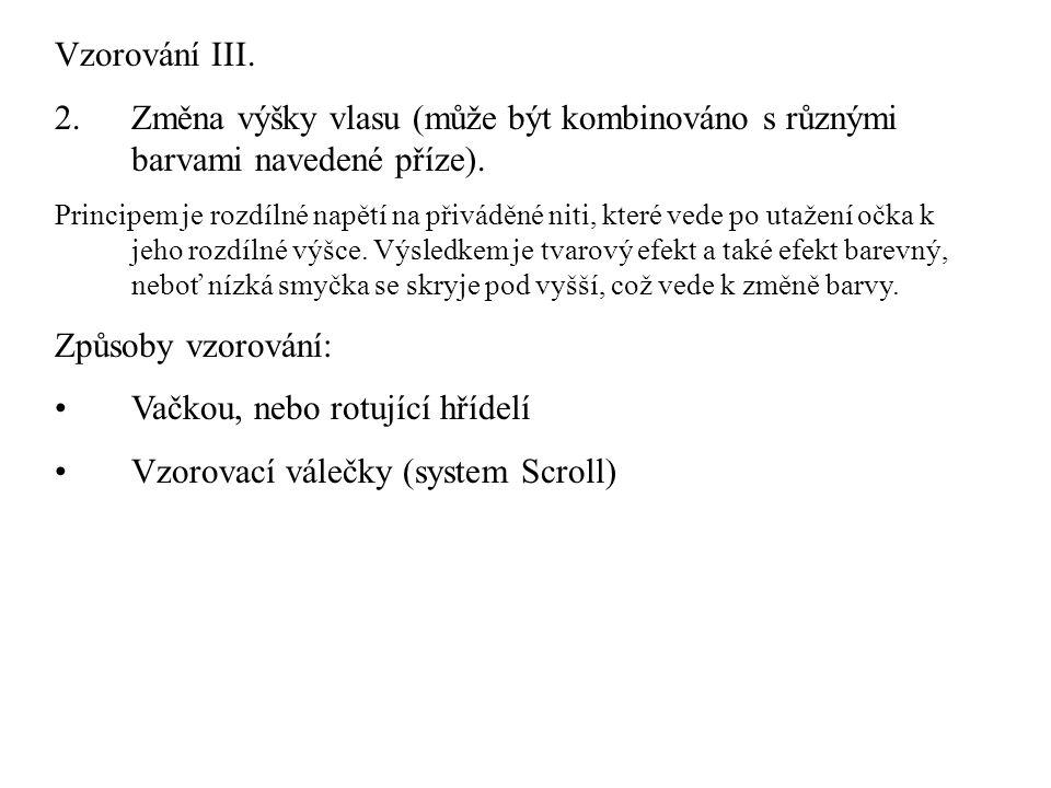 Vačkou, nebo rotující hřídelí Vzorovací válečky (system Scroll)