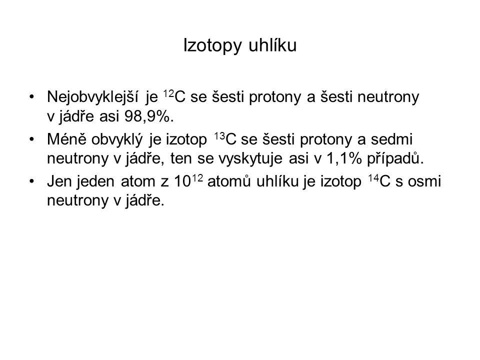 Izotopy uhlíku Nejobvyklejší je 12C se šesti protony a šesti neutrony v jádře asi 98,9%.