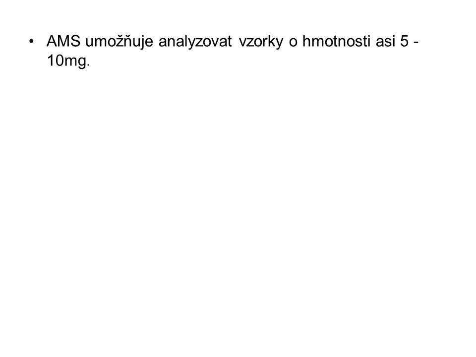 AMS umožňuje analyzovat vzorky o hmotnosti asi 5 -10mg.