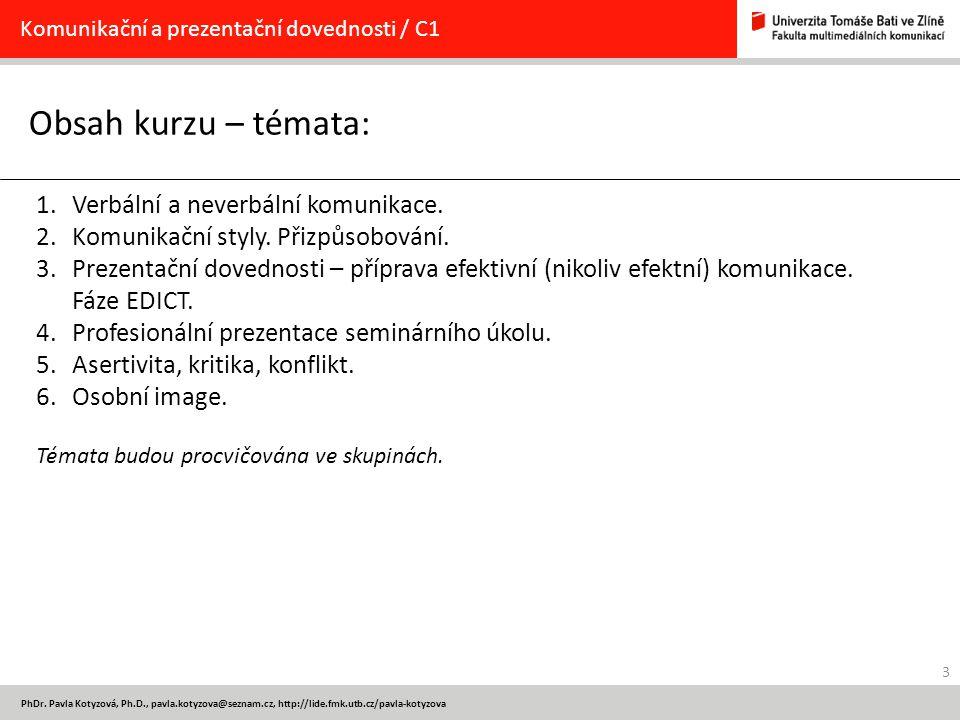 Obsah kurzu – témata: Verbální a neverbální komunikace.