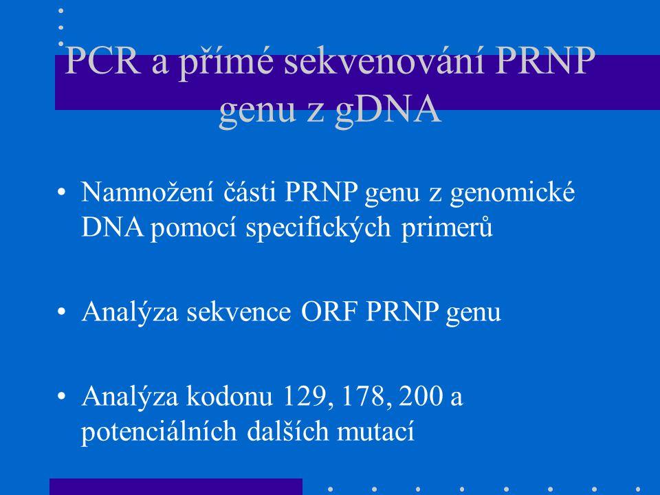 PCR a přímé sekvenování PRNP genu z gDNA