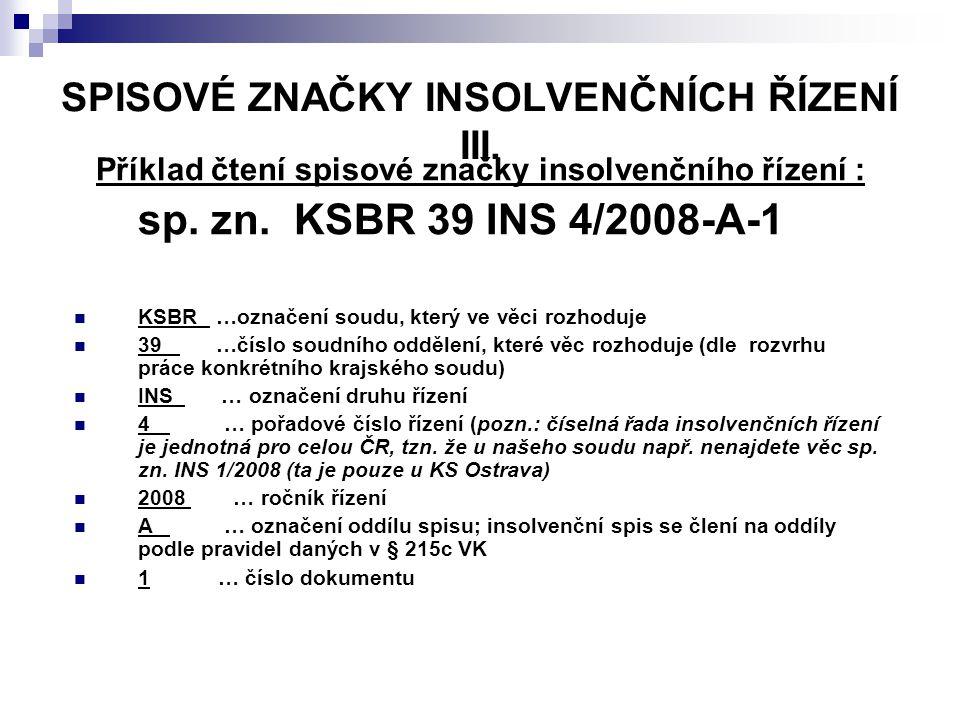SPISOVÉ ZNAČKY INSOLVENČNÍCH ŘÍZENÍ III.