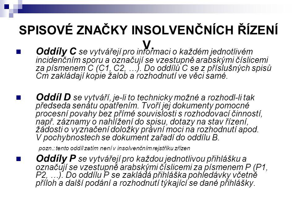 SPISOVÉ ZNAČKY INSOLVENČNÍCH ŘÍZENÍ V.
