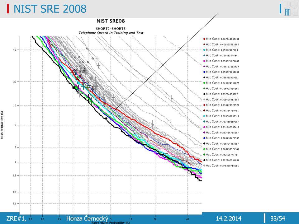 NIST SRE 2008 ZRE#1, Honza Černocký 14.2.2014