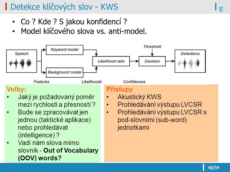 Detekce klíčových slov - KWS
