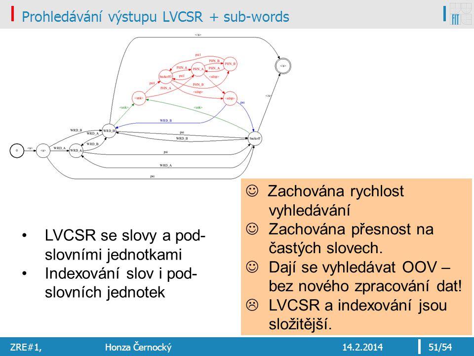 Prohledávání výstupu LVCSR + sub-words