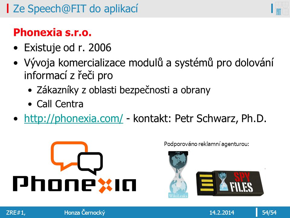 Ze Speech@FIT do aplikací