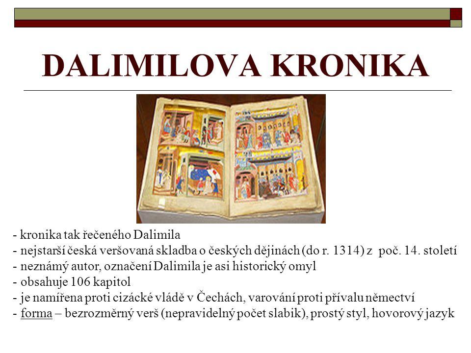 DALIMILOVA KRONIKA - kronika tak řečeného Dalimila