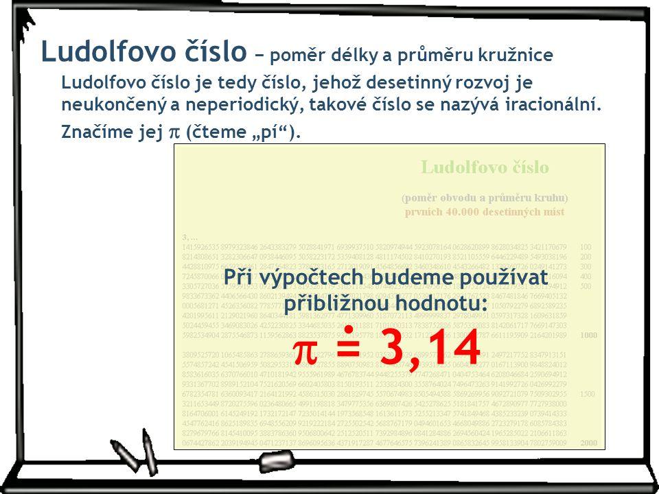 Ludolfovo číslo − poměr délky a průměru kružnice