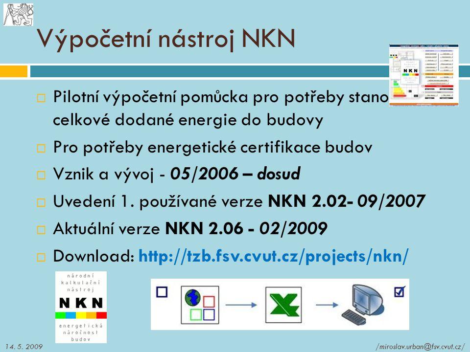 Výpočetní nástroj NKN Pilotní výpočetní pomůcka pro potřeby stanovení celkové dodané energie do budovy.