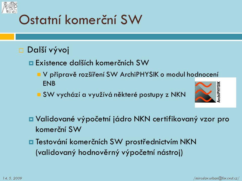 Ostatní komerční SW Další vývoj Existence dalších komerčních SW