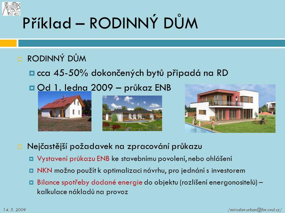 Příklad – RODINNÝ DŮM cca 45-50% dokončených bytů připadá na RD
