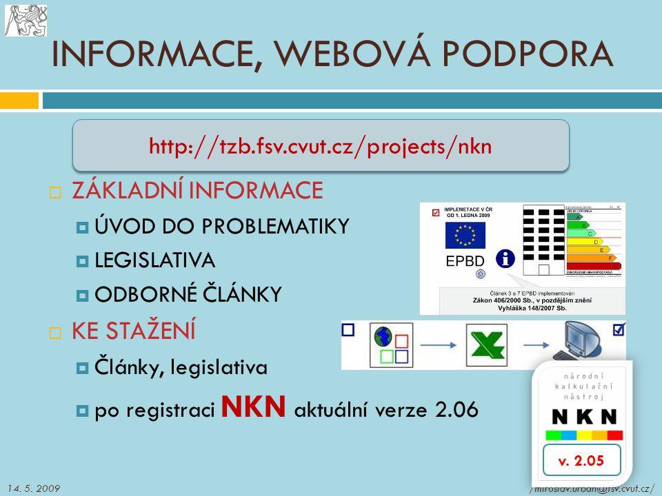 INFORMACE, WEBOVÁ PODPORA