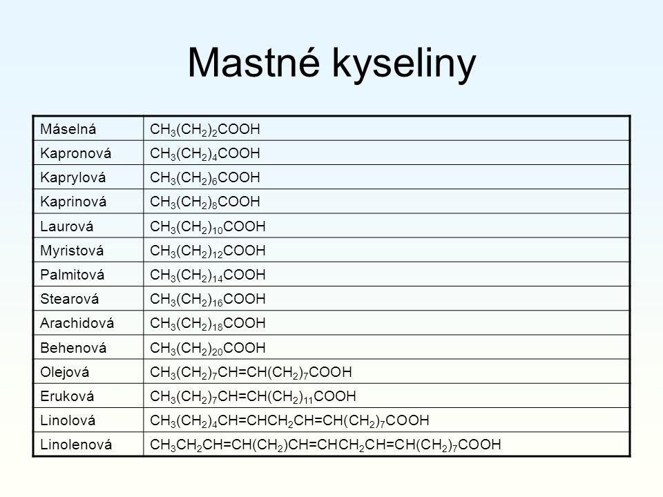 Mastné kyseliny Máselná CH3(CH2)2COOH Kapronová CH3(CH2)4COOH