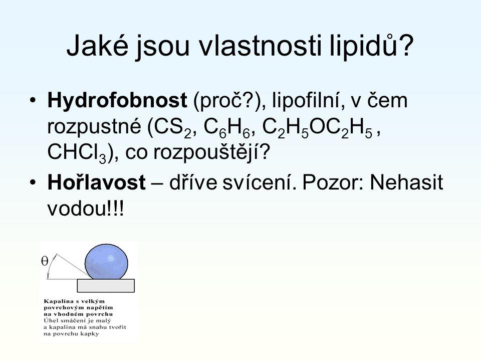 Jaké jsou vlastnosti lipidů