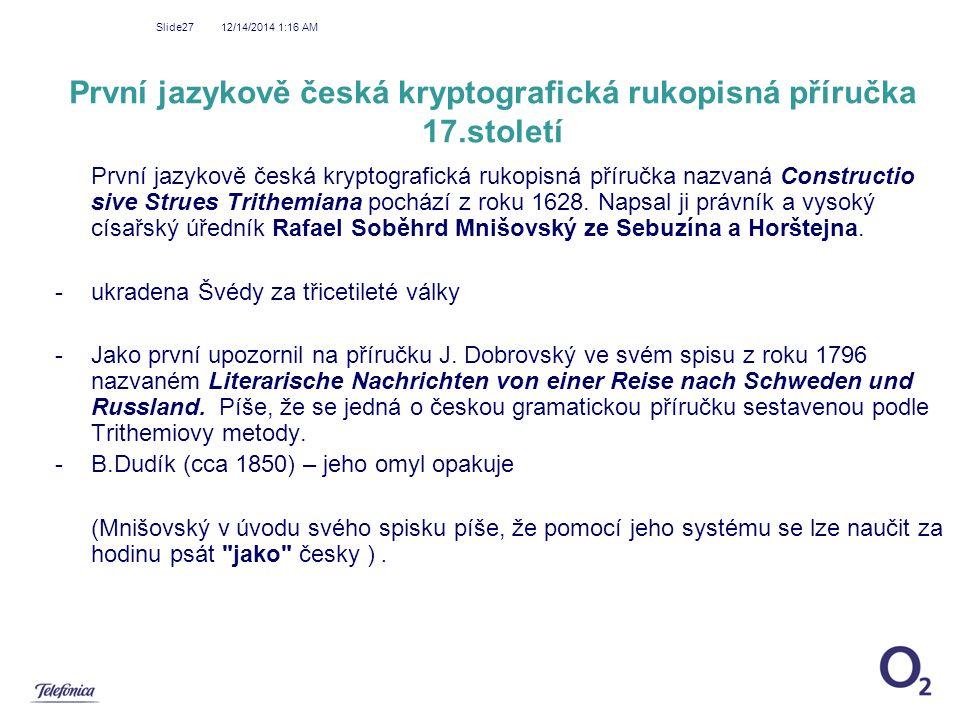 První jazykově česká kryptografická rukopisná příručka 17.století
