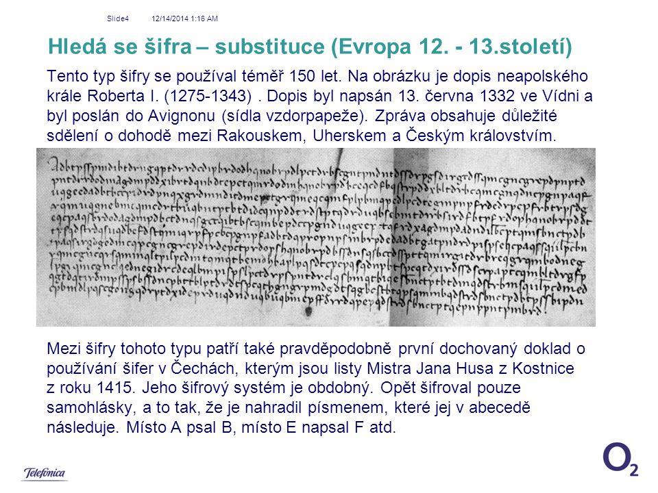 Hledá se šifra – substituce (Evropa 12. - 13.století)