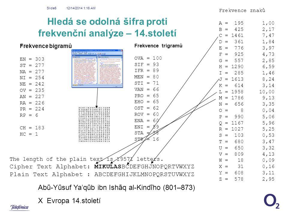 Hledá se odolná šifra proti frekvenční analýze – 14.století