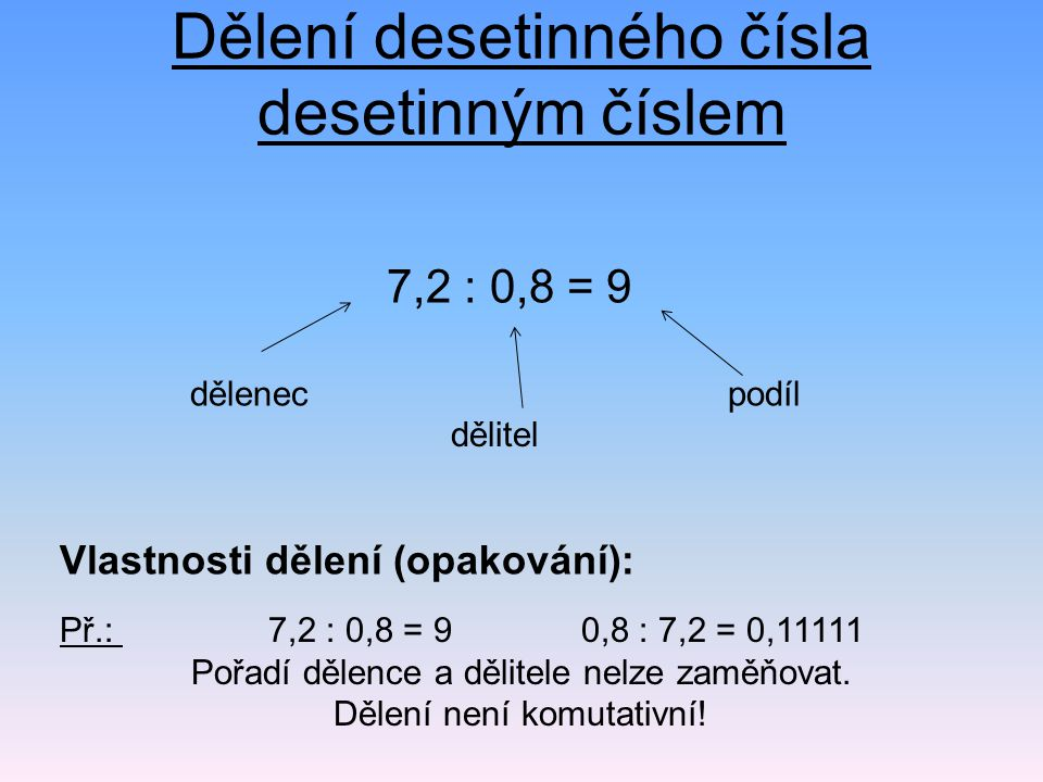 Dělení desetinného čísla desetinným číslem