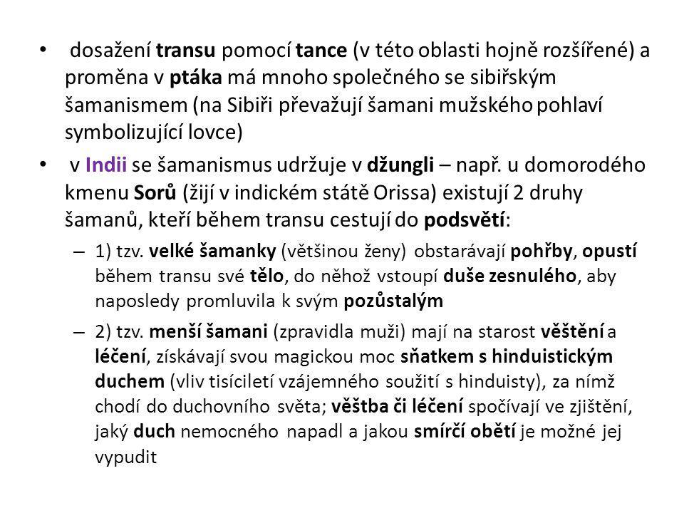 dosažení transu pomocí tance (v této oblasti hojně rozšířené) a proměna v ptáka má mnoho společného se sibiřským šamanismem (na Sibiři převažují šamani mužského pohlaví symbolizující lovce)