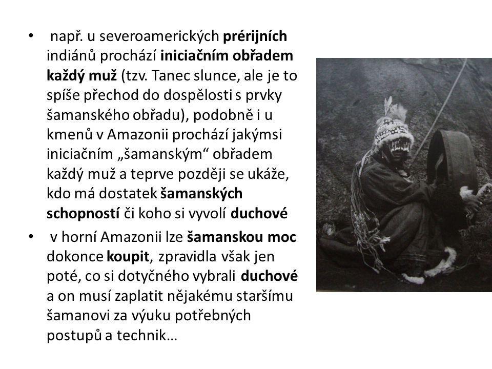 """např. u severoamerických prérijních indiánů prochází iniciačním obřadem každý muž (tzv. Tanec slunce, ale je to spíše přechod do dospělosti s prvky šamanského obřadu), podobně i u kmenů v Amazonii prochází jakýmsi iniciačním """"šamanským obřadem každý muž a teprve později se ukáže, kdo má dostatek šamanských schopností či koho si vyvolí duchové"""