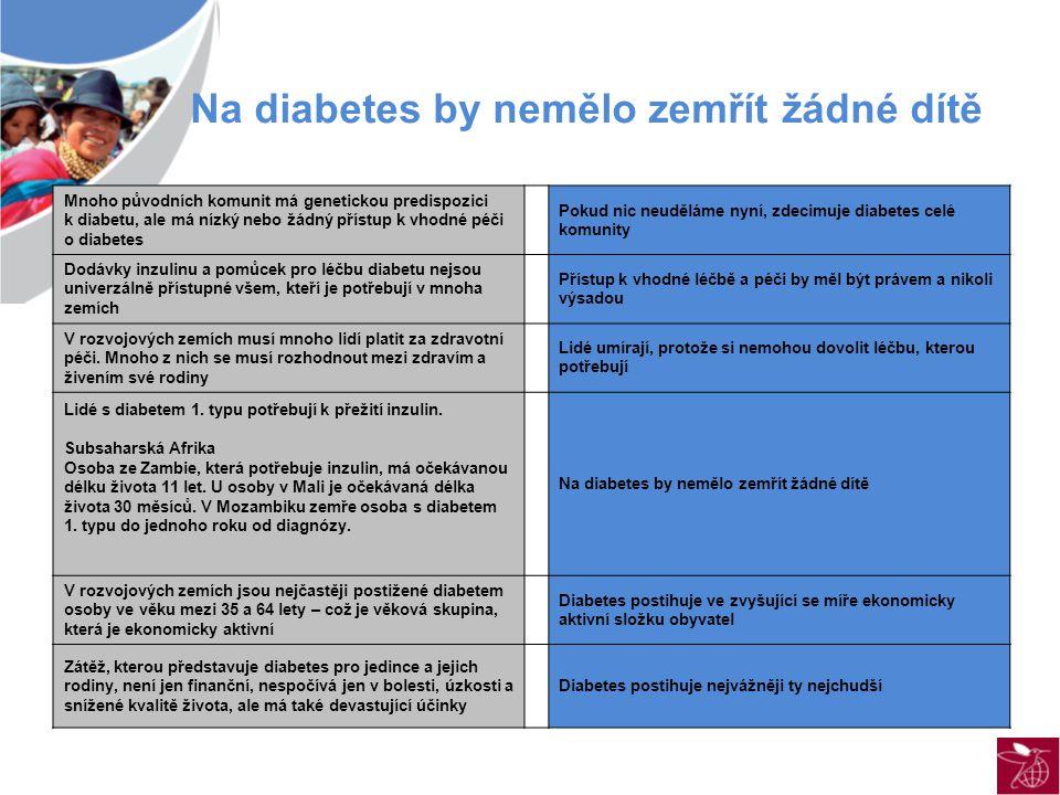 Na diabetes by nemělo zemřít žádné dítě