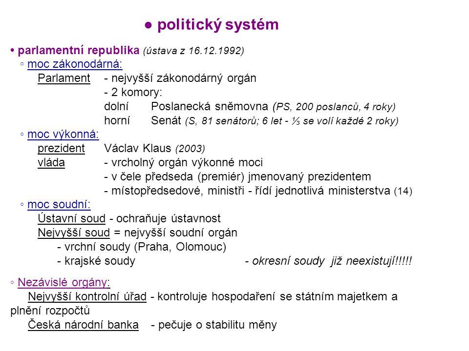 ● politický systém • parlamentní republika (ústava z 16.12.1992)