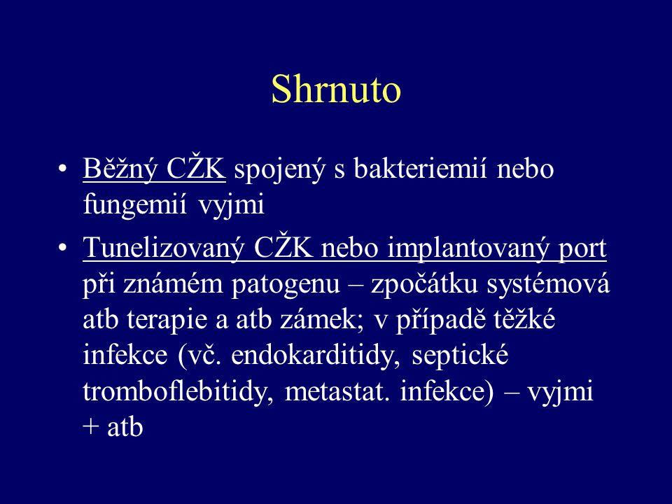 Shrnuto Běžný CŽK spojený s bakteriemií nebo fungemií vyjmi