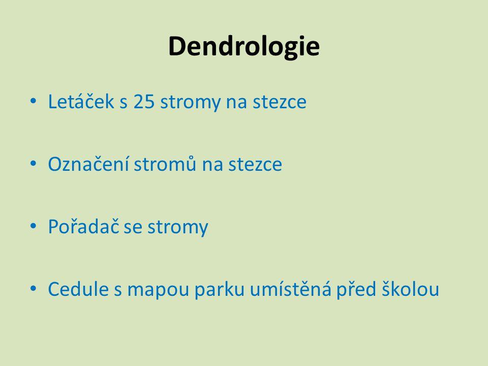 Dendrologie Letáček s 25 stromy na stezce Označení stromů na stezce