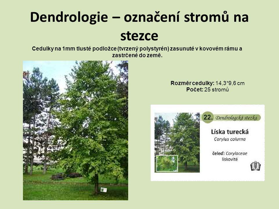 Dendrologie – označení stromů na stezce