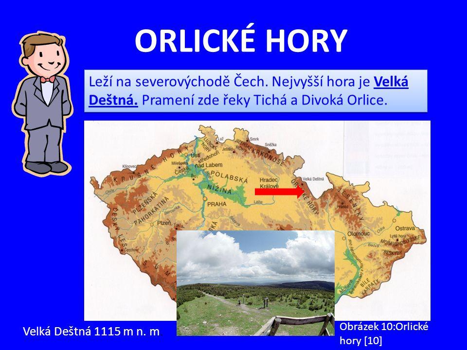 ORLICKÉ HORY Leží na severovýchodě Čech. Nejvyšší hora je Velká Deštná. Pramení zde řeky Tichá a Divoká Orlice.