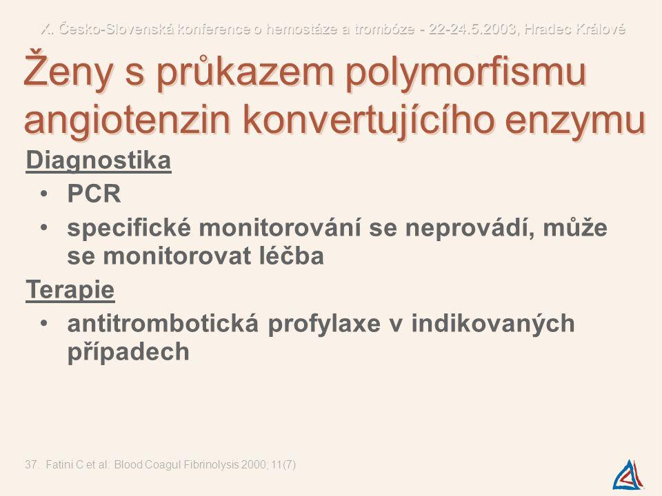 Ženy s průkazem polymorfismu angiotenzin konvertujícího enzymu