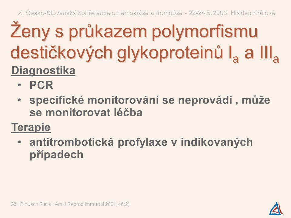 Ženy s průkazem polymorfismu destičkových glykoproteinů Ia a IIIa