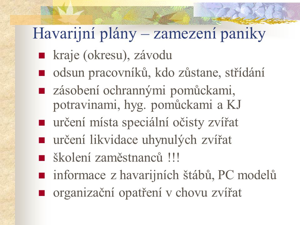 Havarijní plány – zamezení paniky