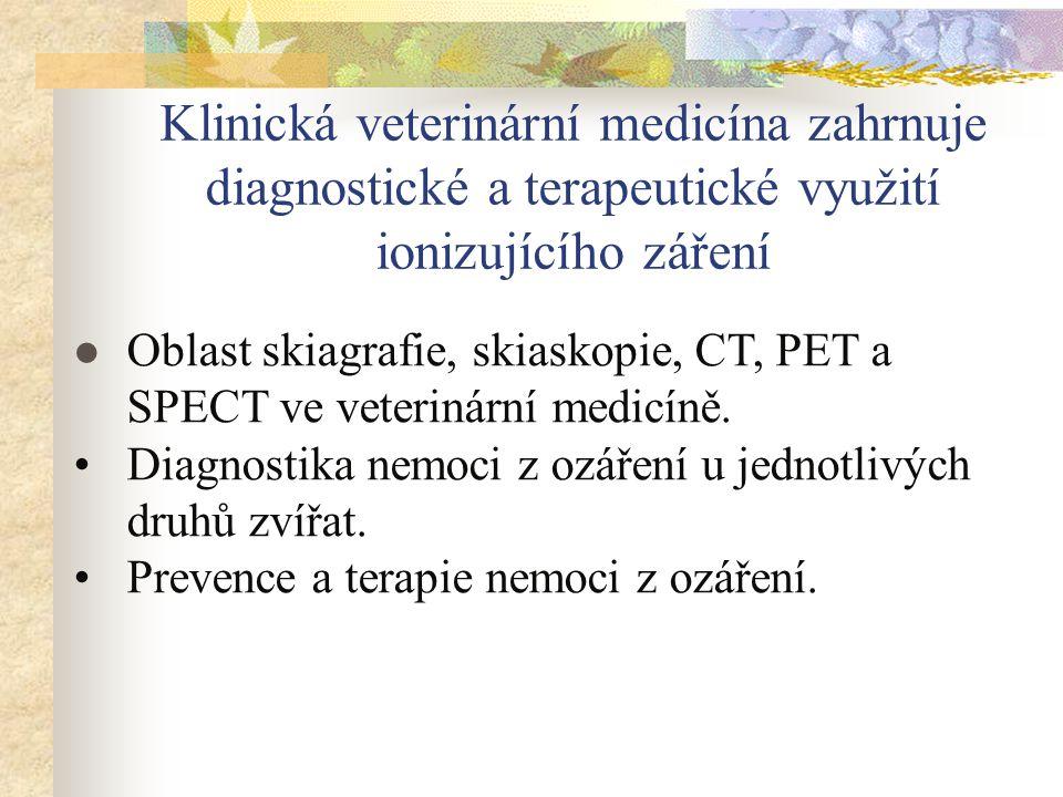 Klinická veterinární medicína zahrnuje diagnostické a terapeutické využití ionizujícího záření