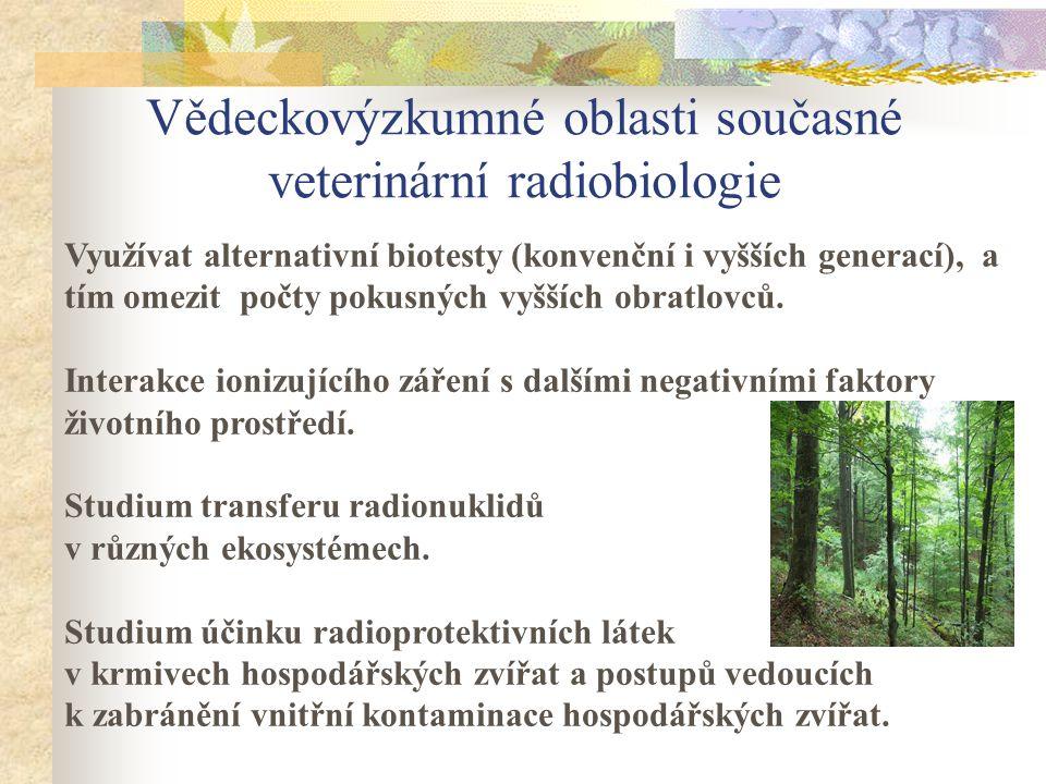 Vědeckovýzkumné oblasti současné veterinární radiobiologie