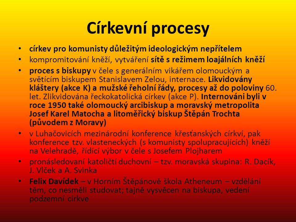 Církevní procesy církev pro komunisty důležitým ideologickým nepřítelem. kompromitování kněží, vytváření sítě s režimem loajálních kněží.