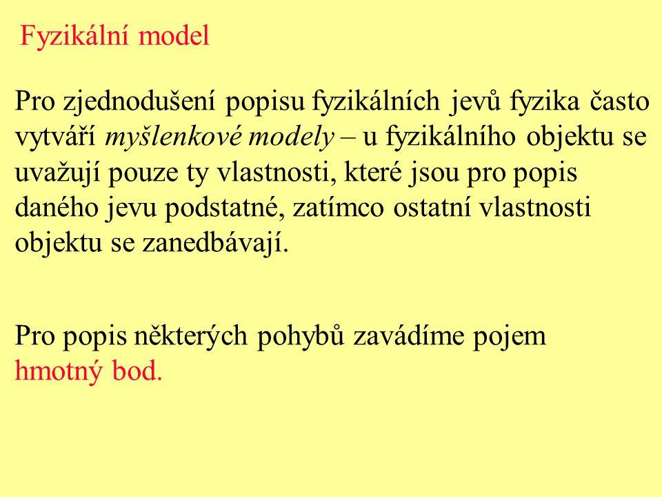 Fyzikální model Pro zjednodušení popisu fyzikálních jevů fyzika často. vytváří myšlenkové modely – u fyzikálního objektu se.